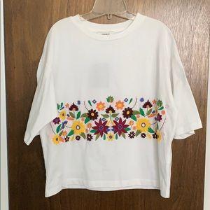 Forever21 White Flower Top